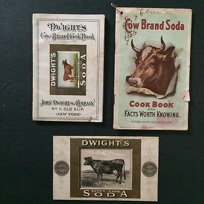 Lot 2 Dwights Cow Brand Baking Soda Cook Books and Card 1894 1900 Recipes NY