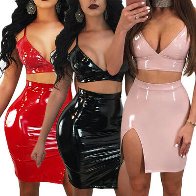 Women Sexy Vinyl PVC High Shine Wet Look Bralette Bra Top + Gloss Mini Skirt Set