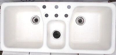 Kohler Cast Iron Triple Basin Double Faucet White Trieste Kitchen Sink Vintage