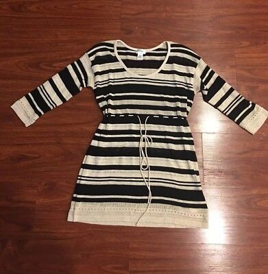Motherhood Maternity Sweater Black Tan Stripe Size Small S