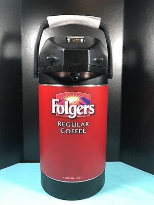 Folgers Coffee Pump Dispenser Thermos Hot or Cold Beverage Swivel Base (B)