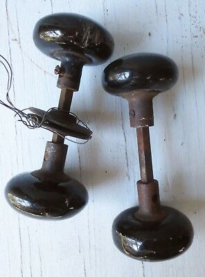 Two Sets Antique Vintage Black Porcelain Door Knobs + Decorative Hardware