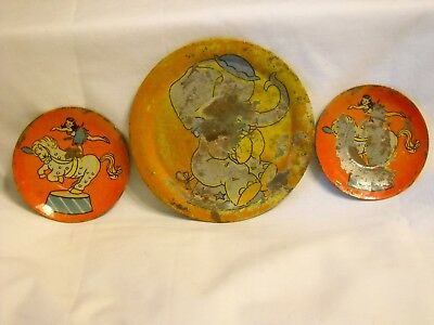 Vintage 1950's Circus Ohio Art Tin Toy Plate & 2 Saucers Total Of 3 Pieces