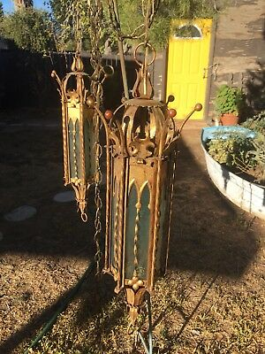 2 Vintage MCM Wrought Iron Gothic Spanish Hanging Swag Lamps Light