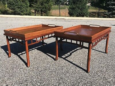 exquisite pair of rare mid century tray top end tables by HENREDON