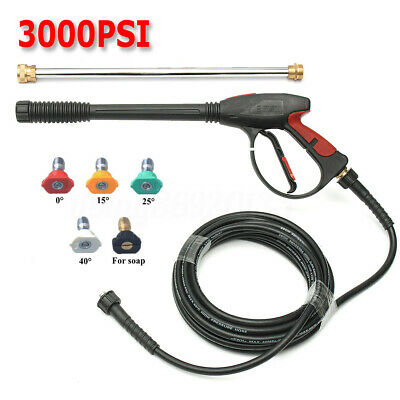 3000 PSI High Pressure Car Power Washer Spray Gun Wand Tips Nozzle Hose Kit US