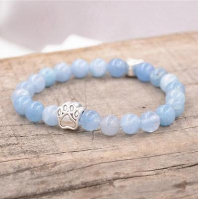 8mm Natural Stone Aquamarine Beads Dog Paw Bracelet Hand Chain Fashion Woman
