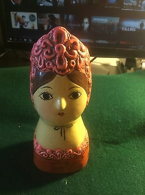 Colonial Woman Lady Head Vintage Ceramic Figural Figurine Bust Retro Still Bank