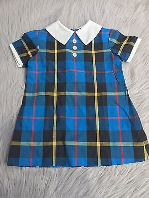 Vintage Cinderella Toddler Girls Blue Yellow Red Plaid Mod Dress Back To School