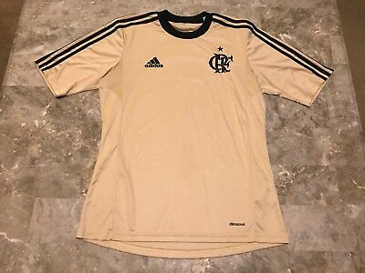 Men s Adidas Flamengo Brazil Soccer Football Gold Black Jersey Adult Size M  RARE cd77c1203
