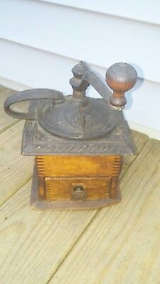 Antique Parker's National Coffee Mill & Spice Grinder Wood Box Cast Iron