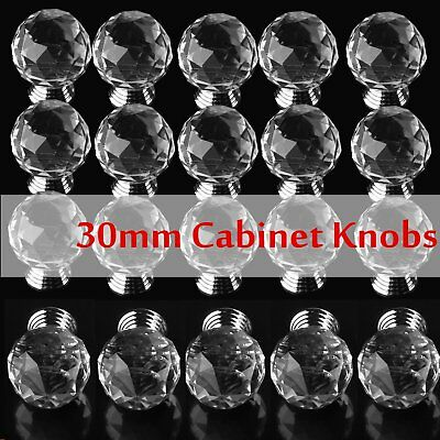 Lot 200X Crystal Glass Cabinet Knob Round Shape 30mm Drawer Cupboard Handle Pull