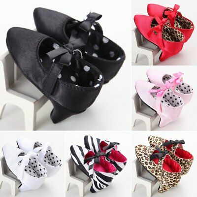Newborn Baby Girls High Heels Soft Sole Toddler Bow Leopard Princess Crib Shoes