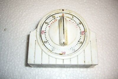 """Vtg Lux USA Metal Heavy Duty Working Minute Minder Red Dial 1 Hour 4x3 1/2"""" Retr"""