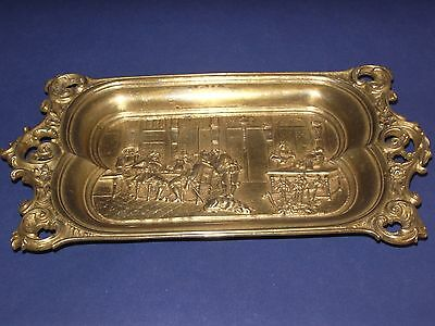 French bronze antique calling card tray ornate gold patina Estate