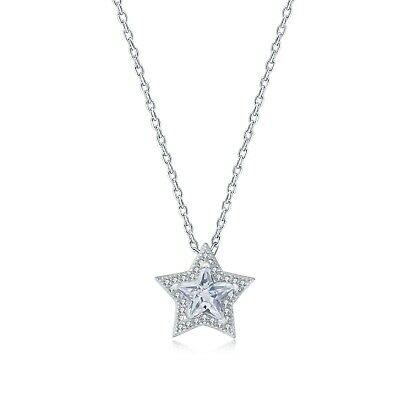 "1 Ct Star Diamond Solitaire Pendant Womens Necklace with18"" Chain 14K White Gold"
