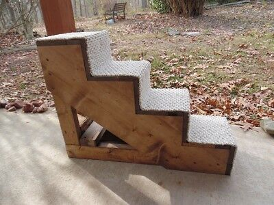 "Pet Stairs Pet Steps Handmade Wood 24"" H x 10"" W 4 Step Cat Dog Steps Bed New"
