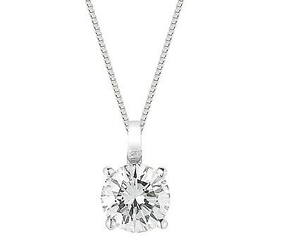 1 Ct Solitaire Round Diamond Pendant Charm 6MM with Chain 14k White Gold over