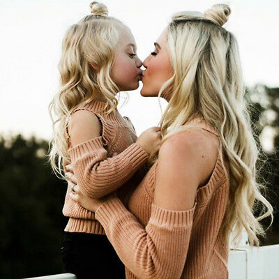 US Stock Family Mother Daughter Long Sleeve Off Shoulder Knitted Sweater Clothes