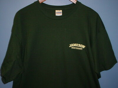 Jameson Irish Whiskey Xl T Shirt Green Small Lapel Logo Gildan Heavy Cotton