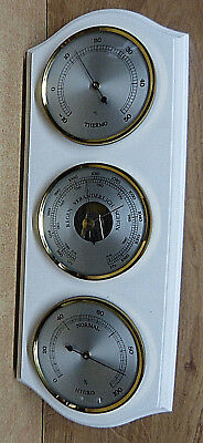 10718. Barometer / Thermometer / Hygrometer  -  Holz weiss  -  33 cm