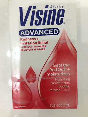 VISINE ADVANCED REDNESS IRRITATION RELIEF EYE DROPS 8ml 0.28 fl.oz. FREEPOST UK