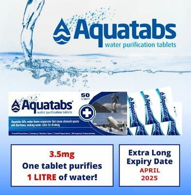 Aquatabs Potable Water Purification Tablets 10 tabs per pack camp survival army