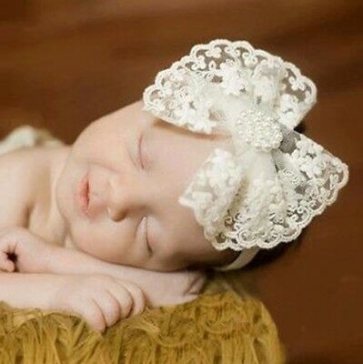 Lace Headband White Baby hair band Baptism Wedding Christening Pearls Rhinestone