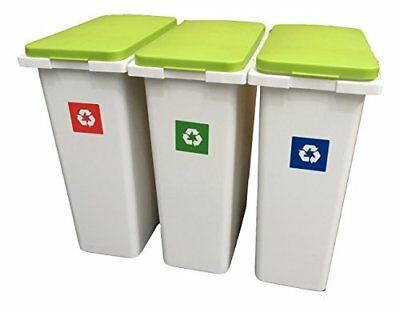 3 x 30 Litre Waste Recycling Laundry Sorting Plastic Bins Boxes + Hinged Lids!