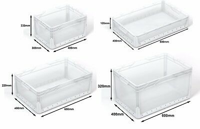 CLEAR Euro Stacking Heavy Duty Plastic Storage Industrial Container Boxes Crates