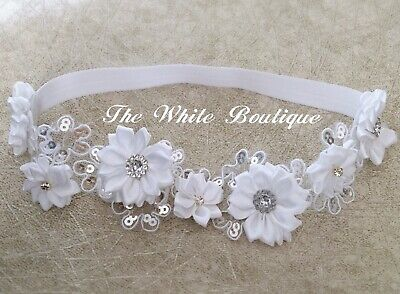 Baby Christening Headband Baptist Hair Band Sequins Satin Flowers