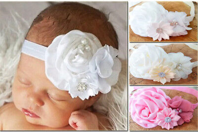 Ivory White Satin Flower Rhinestone Baby Hair Band Baptism Wedding Christening