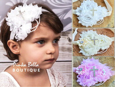 Ivory White Shabby Flower Pearls Baby Hair Band Baptism Wedding Christening