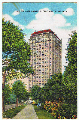Vintage Old 1950 Architecture Postcard Medical Art Building Fort Worth Texas Oil