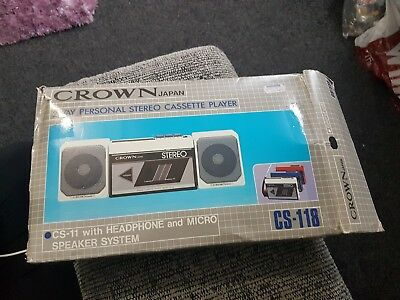 rare vintage crown cs-11 2 way personal stereo cassette player in box walkman