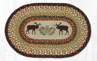 """Primitive Country Rustic Lodge 100% Natural Braided """"Moose & Pinecone"""" Placemat"""