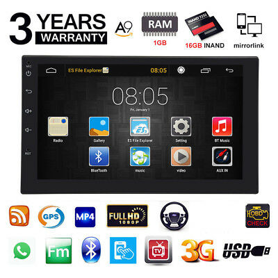 "7"" 2DIN Quad Core Android 7.1 3G WIFI Double Car Radio Stereo MP5 Player GPS LOB"