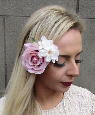 Blush Nude Pink Cream Rose Hydrangea Flower Hair Clip Fascinator Bridesmaid 4906