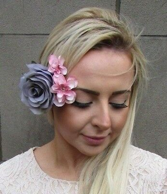 Grey Blush Light Pink Rose Hydrangea Flower Hair Clip Fascinator Bridesmaid 4907