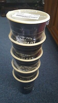 Bacardi Oakheart Set Of 5, 16oz reusable Insulated plastic cups Brand new {05