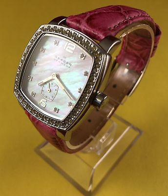 Skagen Rhinestone - Mother of Pearl -Pink Leather Band Women's Watch