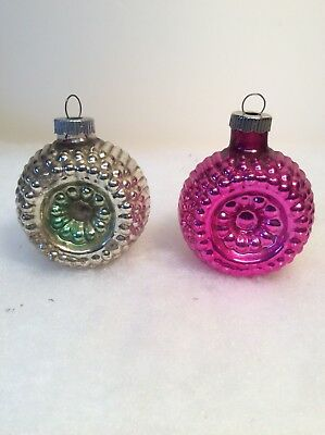 Vintage Shiny Brite Bumpy Double Indent Glass Christmas Ornaments Lot Of 2