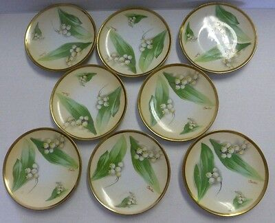"""O & EG Royal Austria Antique 6"""" Saucer Plate Lily of Valley Artist Signed 8ct"""
