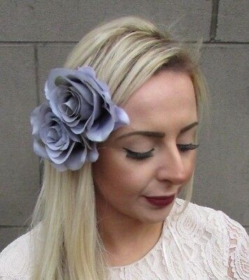 Grey Double Rose Flower Hair Clip Bridesmaid Fascinator Floral 1950s Races 4909