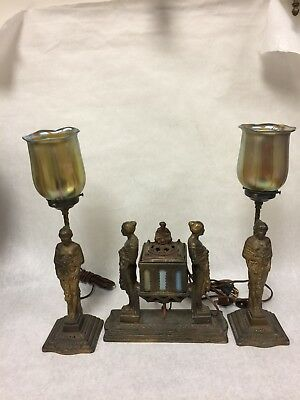 Vintage Art Deco Figural Lamp With Matching Pair Of Statuettes.