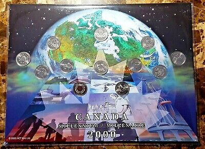 Canada 2000 Millennium Designs  BU 12 Coin Commemorative Quarter Set!!