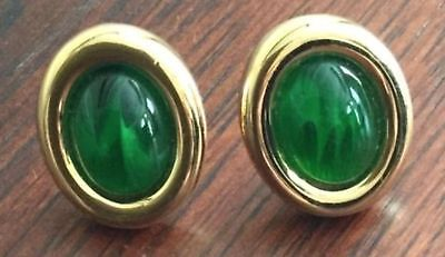 BRAND NEW Christian Dior Clip Earrings Couture Emerald Cabochons RARE VINTAGE