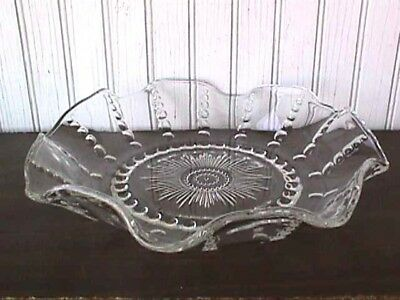 "*columbia Crystal 10 ½"" Ruffled Low Bowl Federal 1938-1942-B50-E"