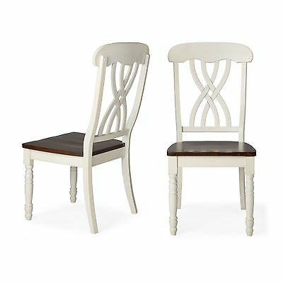 Traditional Country Design Antique White Finish Dining Room Chair Set (2)