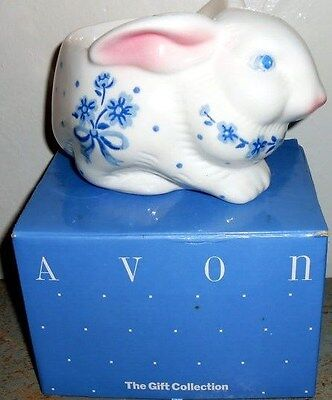 Vtg Avon Gift Collection Country Bunny Planter (Blue)-New In Box-Free Shipping